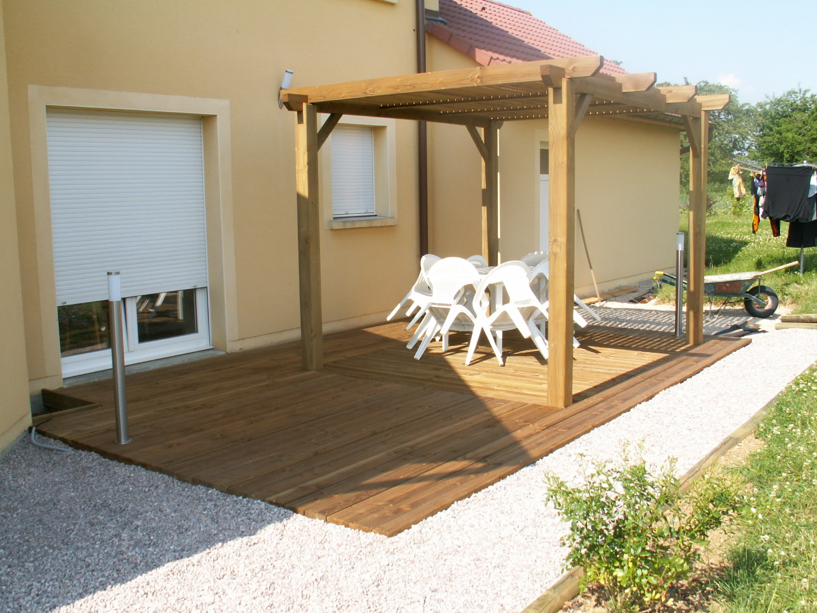 pergola sur terrasse bois pergola terrasse bois sur enperdresonlapin. Black Bedroom Furniture Sets. Home Design Ideas